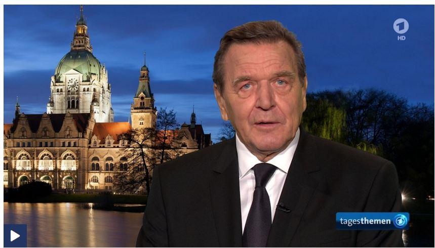Bundeskanzler a.D. Gerhard Schröder im Tagesthemen-Interview zum Tod von Helmurt Schmidt