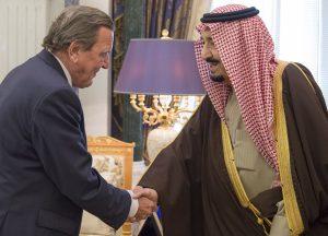 König Salman bin Abdulaziz Al Saud und Bundeskanzler a.D. Gerhard Schröder, Riad, 17.01.2017